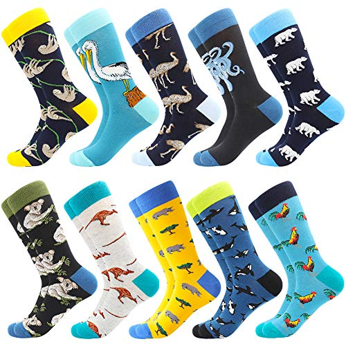 Men's Fun Dress Socks Crew Colorful Funky Fancy Novelty Funny Casual Patterned Socks for Men, 10 Pairs-zoo2, US 8-12 / EU 41-46