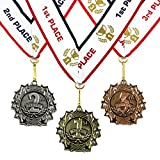 All Quality 1st 2nd 3rd Place Ten Star Award Medals - 3 Piece Set (Gold, Silver, Bronze) Includes Neck Ribbon