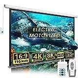 110' Motorized Projector Screen - Indoor and Outdoor Movies Screen 110 inch Electric 16:9 Projector Screen W/Remote Control