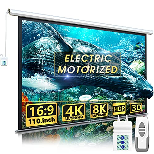 Aoxun 110' Motorized Projector Screen - Indoor and Outdoor Movies Screen 110 inch Electric 16:9 Projector Screen W/Remote Control