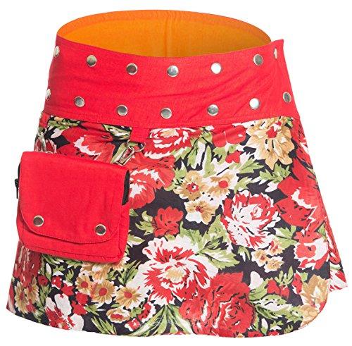 ufash Mini Falda Cruzada para Las Mujeres, de la India - con 18 Botones de presión - Reversible con 2 diseños Diferentes y un Bolsillo adosado - Ropa de Fiesta Goa, Rojo (Ropa)