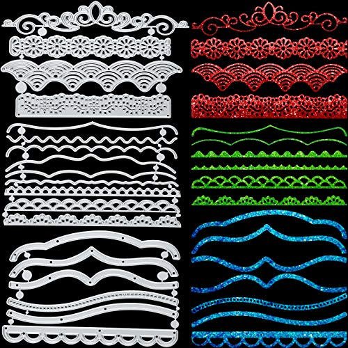 19 Pieces Metal Embossing Lace Cutting Dies Metal Lace Die Cuts Embossing Stencils DIY Scrapbooking Lace Stencils Templates for Crafts New Year Wedding Valentine's Birthday Greeting Cards Albums