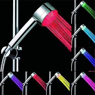 M-zmds Tamaño Universal Duchas de Mano Rainbow Shower Head Luz LED 7 Colores Cambio de Boquilla de bañera Ahorro de Agua Acabado en Cromo Desmontable