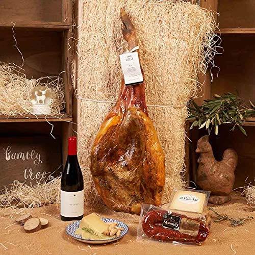 Cesta Gourmet de Navidad 2019 - LOTE JAMÓN 600-9 Bodega, Jamón Bodega, Vino Tinto Vespres Negres,Chorizo de León Ahumado, Queso Cuña Oveja Curado, Caja Regalo Jamón