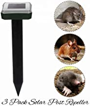 Ultrasonic Power Solar Powered Pest Repeller | Electronic Pest Chaser | Gopher Groundhog Mice Mole Rat Snake Vole Rodent Pestaway | 650 m² Range | Outdoor Animal Garden & Lawn Protector Repellant