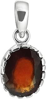 ARIHANT GEMS & JEWELS Adult Hessonite Garnet Astrological Gemstone Silver Pendant