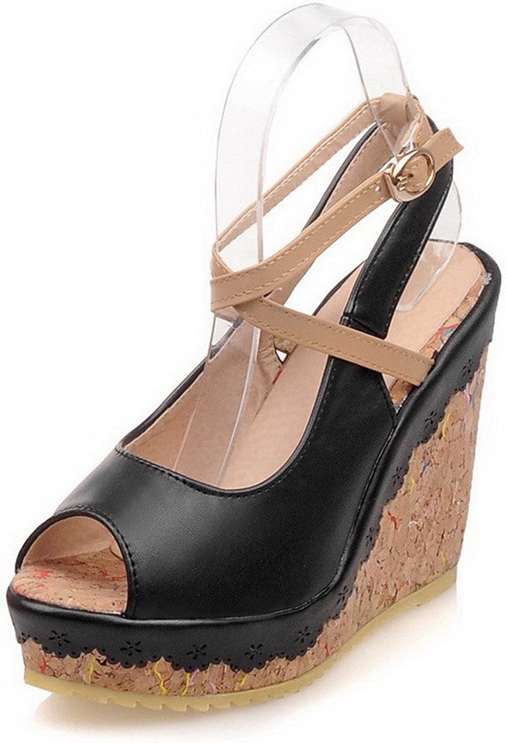 WeenFashion Women's High Heels Soft Material Assorted color Buckle Peep Toe Sandals