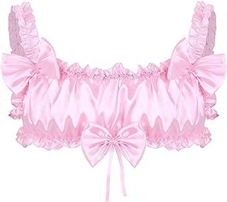 easyforever Men's Sissy Frilly Satin Xdress Bra Top Spaghetti Stretchy Short Camisole Vest