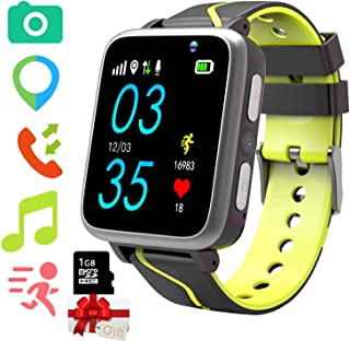 Niños Musica Smartwatch Phone, Reloj Inteligente MP3 con Localizador GPS Chat de Voz SOS Cámara Despertador FM Linterna Re...