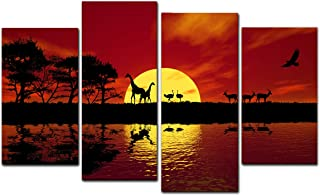 Wieco Art Large 4 Panels Sunset African Red Tone Giclee Canvas Prints Wall Art Home Decorations for Living Room Bedroom Modern Stretched and Framed Landscape Wildlife Pictures Photo Paintings L