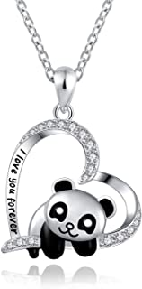 ACJNA 925 Sterling Silver Panda Bear Necklace Bamboo Heart Pendant Engraved I Love You Forever Women Jewelry
