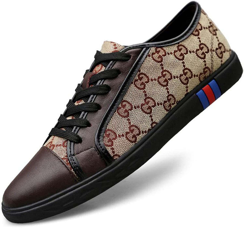 Men's Canvas shoes Fashion Leather Toe Cap Lace Up Casual shoes Espadrilles Low-top Sneakers Training shoes YAN (color   A, Size   36)