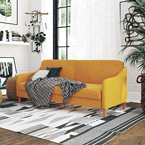 DHP Jasper Coil, Multi-Position Design, Mustard Yellow Linen Futon,