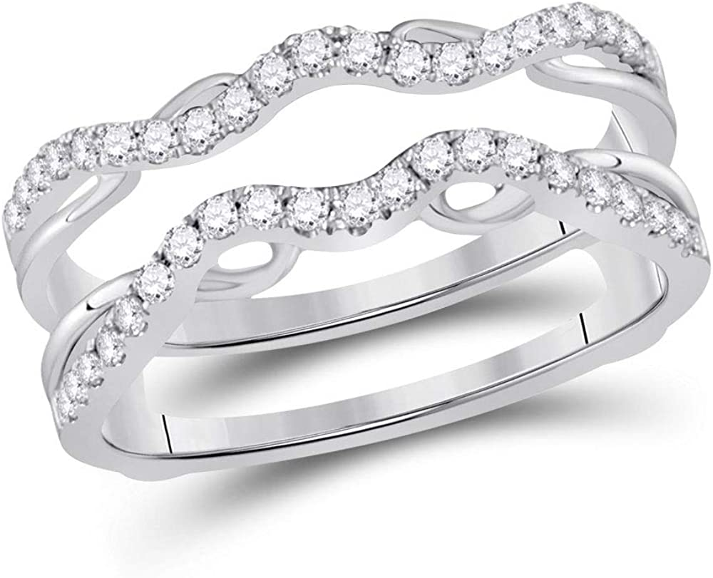 14kt White Gold Womens Round Diamond Wrap Ring Guard Enhancer 1/3 Cttw