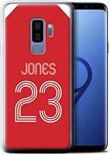 Personalized Custom Soccer Club Jersey Shirt Kit Gel/TPU Case for Samsung Galaxy S9 Plus/G965 / Red White Design/Initial/Name/Text DIY Cover