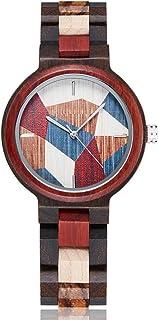 Reloj de pulsera para mujer con correa de madera de cuarzo, color rojo y esfera multicolor