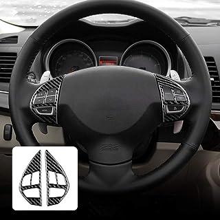AIRSPEED Carbon Fiber Car Steering Wheel Button Sticker Interior Trim Decal Accessories for Mitsubishi Lancer 2008-2015 (B...