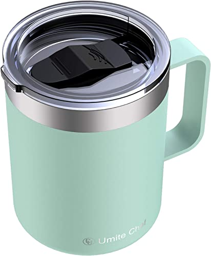 high quality Umite Chef Stainless Steel Insulated Coffee Mug Tumbler online with Handle, 12 oz Double Wall outlet online sale Vacuum Tumbler Cup with Lid Insulated Camping Tea Flask for Hot & Cold Drinks(Tiffany Blue) sale