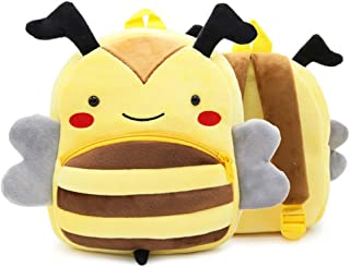 Bansusu 3D Cute Honeybee Pattern Baby Plush Backpack Ultralight Toddler Snack Bag Rucksack