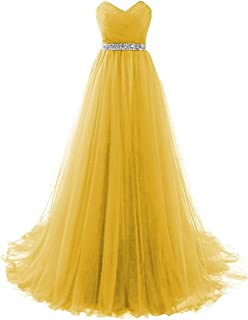 Dannifore Women's Strapless Prom Dress Tulle Princess Evening Gowns with Rhinestone Beaded Belt