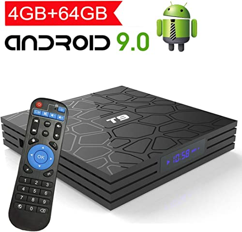 Android TV Box 9.0 with 4GB RAM 64GB ROM, EASYTONE T9 Android Box Quad Core 64bit/ 5G WiFi/ BT4.0/ H.265/ USB 3.0/ 3D...