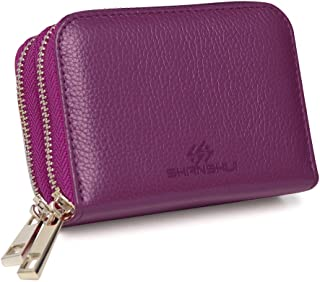(purple) - Genuine Leather Wallet SHANSHUI RFID Blocking Credit Card Holder Safe Travel Pocket Case Protector with 2 Metal Zipper 12 Card Slots Purple