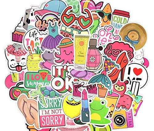 jklv 50 PCS Adesivi Stile Ragazza Cartone Animato Kawaii Anime Beach Graffiti Sticker Fai da Te per Bottiglia d'Acqua Laptop Bagagli Custodia per Tablet cosmetica