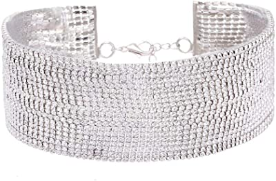 Crystal Multi-Layer Diamante Rhinestone Choker Drop Necklace#30
