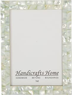 Picture Frames Chic Photo Frame Mother of Pearl Handmade Vintage 5x7 Green – Christmas Gifts
