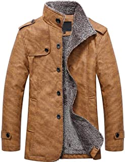 Men's Vintage Jacket Winter Faux Fur Lined Jackets Button Coats Outwear