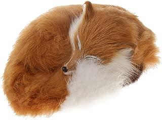 Dovewill Cute Realistic Sleeping Fox Stimulation Animal Interior Ornament Kids Children Home Decor Gift Yellow