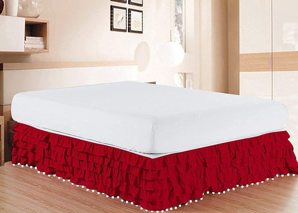 NG Linen Luxury Pom Multi Popular overseas Ruffle Egyptian BedSkirt Easy-to-use 100% Cott