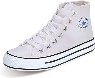 152a449788ba9 PADGENE Baskets Mode Compensées Montante Sneakers Tennis Chaussures Casuel  Toile Lacet Homme Femme