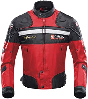 Motorcycle Jacket Motorbike Riding Jacket Windproof Motorcycle Full Body Protective Gear Armor Autumn Winter Moto Clothing (Red, L)