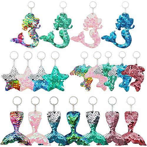 20 Piezas de Llaveros con Lentejuelas Reflectantes de Dos Caras Reversibles en Forma de Sirena Estrella Delfín Cola de Sirena Favores de Fiesta Regalos para Fiestas Cumpleaños de Niños 4 Tipos