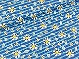 Swafing Steinbeck Webware Blumen und Blätter auf blau
