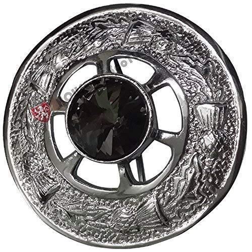 Highland Celtic Pin & Brooches Ladies Tartan Sash/Women Shawl Tartans Sash Kilt Fly Plaid Brooch Grey Stone Chrome Finish 2' 5cm