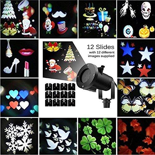 Projecteur LED Extérieur Noël Lumière de Projection avec 12 Modes de Projection Lampe de Projecteur Arbre et Etoiles Éclairage Décoratif Pour mariage Halloween Noël Soirée Anniversaire Carnaval