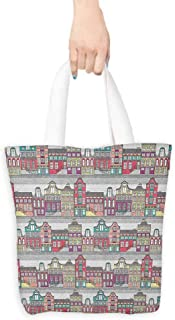 Tote bag Dutch Traditional Colorful Amsterdam Houses Sketch Style Architecture Themed Illustration Coin cash wallet 16.5