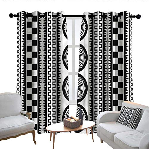 Lewis Coleridge Blackout Curtains Black and White,Monochrome Borders,for Bedroom,Nursery,Living Room 54'x84'