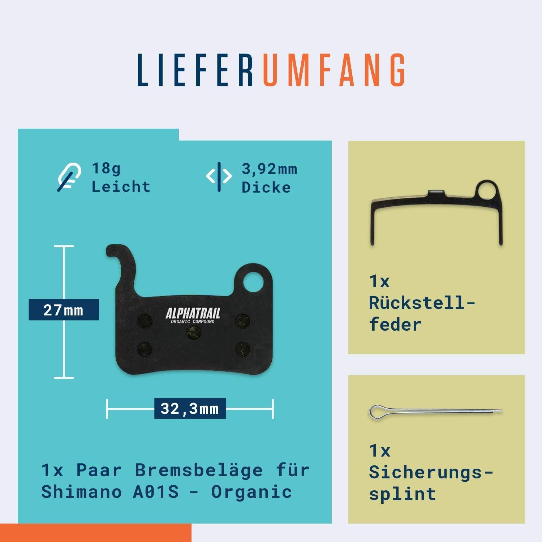 Shimano A01S I Org/ánico /& Sinterizado Pastilla de Freno MTB con Alta Potencia de frenado y kilometraje I Shimano XTR XT SLX LX Saint Hone Alfine MTB Alphatrail Pastillas de Freno