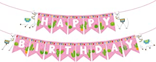 Topoox Llama Happy Birthday Banner Mexican Fiesta Girl Birthday Cactus Llama Party Decorations