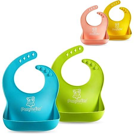 3 Piezas Baberos de Silicona,Saijer Ajustable Impermeable F/ácil de Limpiar Baberos de Silicona Evitar que los Beb/és se Ensucien la Ropa Mientras Comen