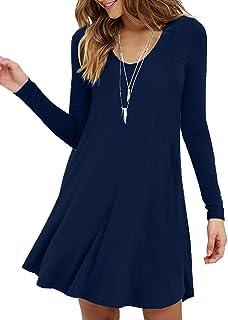 MOLERANI Women`s Long Sleeve Casual Swing Simple T-Shirt Loose Dress