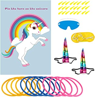 OurWarm Unicorn Party Game Set, Unicorn Ring Toss Game & Pin the Horn on the Unicorn Party Favor Games for Kids Birthday Party Decorations, Unicorn Gifts for Kids