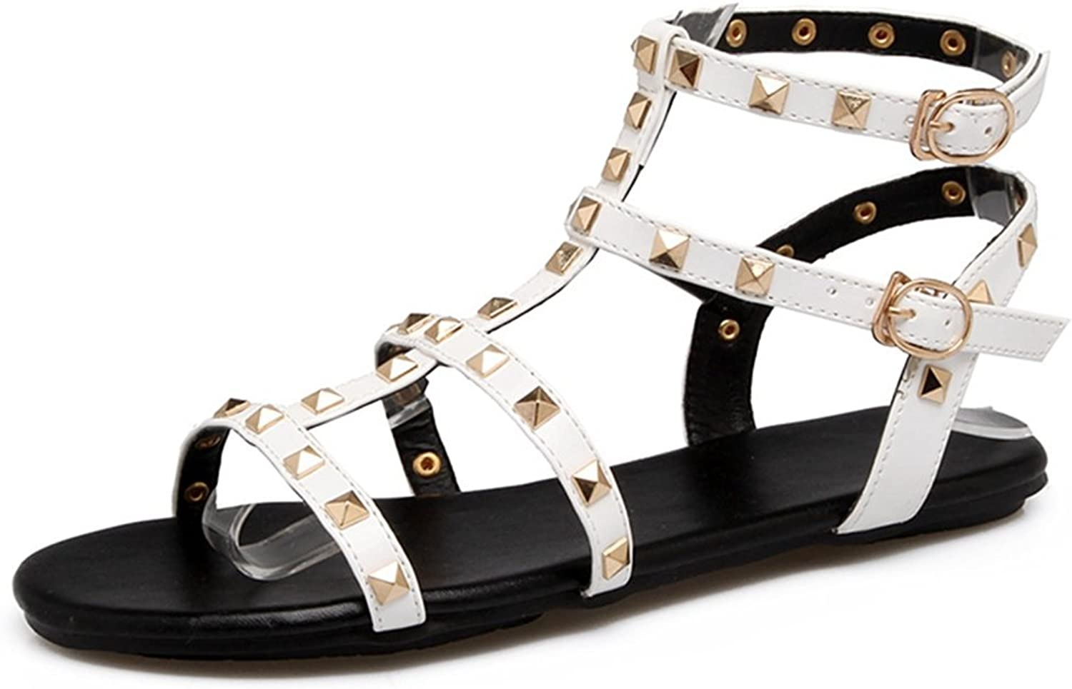 CYBLING Women's Rivets Studs Flat Sandals Ankle Strap Buckle Gladiator Summer Dress shoes