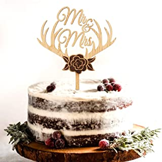 Battife Rustic Wooden Wedding Cake Topper for Engagement Bridal Shower Party Cake Decorations - Mr&Mrs with Deer Horn