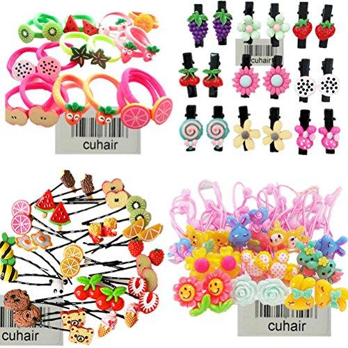 Cuhair Haargummi/Pferdeschwanz-Halter, süße Früchte, Blumen, Cartoon, elastisch, Accessoires für Baby, Kinder, Mädchen, 20 Stück