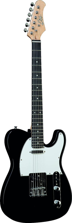 EKO VT-380 BLACK, Guitarra eléctrica con forma de TELE, color negro y blanco