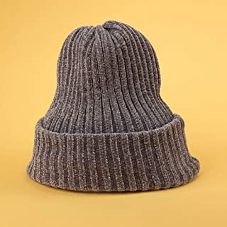 WHPSTZ Soft Solid Color Chenille Wool Cap Men and Women Couple Winter Thick Knit Pullover Cap Pile Hat Women's Wool Cap (Color : Gray)